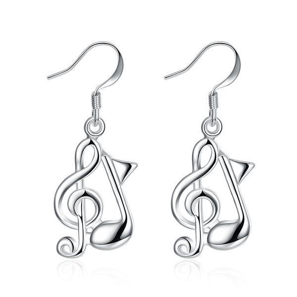 Music Note Boucles d'oreilles en argent sterling S925 DangleChandelier Accessoires Boucles d'oreilles à la mode élégante unique de dames de Noël Cadeaux POTALA961