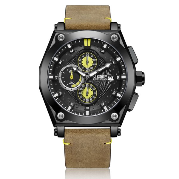 BRW Men's Brown Leather Strap Quartz Watches Chronograph Sports Wristwatch for Man 3 ATM Waterproof Army Clock 2098 Black