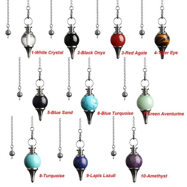 JLN Dowsing Pêndulo Equilíbrio Reiki Pedra Natural Cristal Ágatas Vermelhas Cone Circular Charme Pingente para Mulheres Dos Homens Adivinhação Meditação
