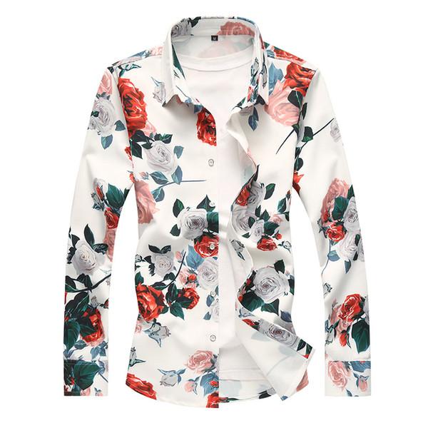 Camicia a maniche lunghe da uomo primavera nuova stampa digitale elastica più fertilizzante XL colore di tendenza a maniche lunghe camicia vestiti magliette bianche 6xl