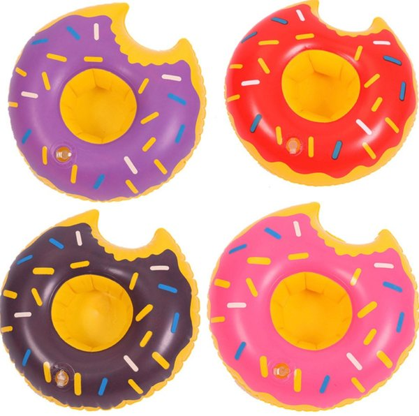 INS 4 Colors 22cm Donuts Inflatable Drinks Cup Holder Pool Floats Bar Children Bath Toy Small Size Party Supplies