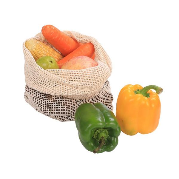 Bagagli Net sacchetto riutilizzabile in cotone vegetale da cucina Borsa domestica di frutta verdura e Lavabile in lavatrice cordino
