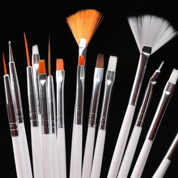 15PCS White Nail Brushes Set Polymer Clay Art Painting Pen Brush For Gel Varnish Manicure Nail Art Dotting Brush DIY Nail Tools