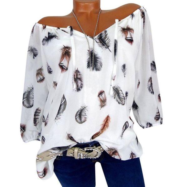 Summer Plume Imprimer Femmes Blouses Col V Imprimer Mousseline De Soie Blusas Sexy Tee Shirt Casual Blusa Femme Plus La Taille Chemise