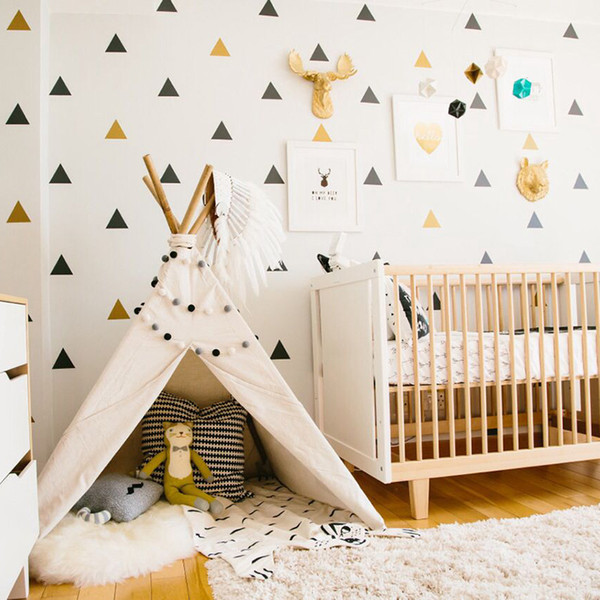 Triangles Baby Room Decor Kids Bedroom Wall Sticker For Kids Room Nursery  Decor Girl Childrens Bedroom Home Decor Wallpaper Contemporary Wall  Stickers ...