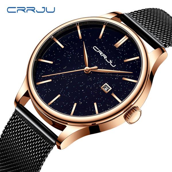 New Fashion CRRJU Brand Watches Rose Gold Stainless Watches Women ladies casual dress Quartz wristwatch reloj mujer
