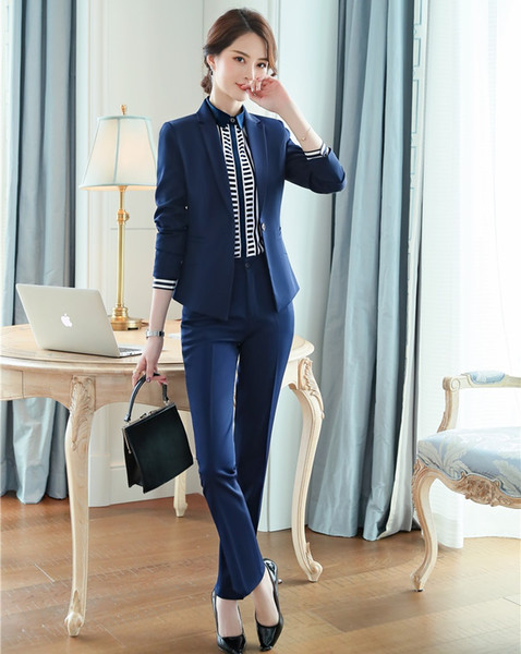 Formal Pant Suits for Women Work Wear Suits Blazer and Jacket Set Work Wear Ladies Office Uniform Styles Navy Blue
