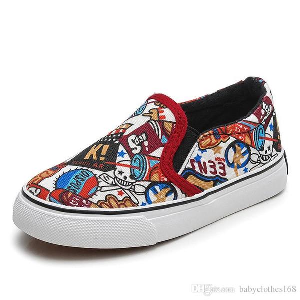 Großhandel Sport Casual Turnschuhe Schuhe Stiefel Von Denim Jeans Flache Druck Leinwand Marke Atmungsaktiv Für Jungen Kinder Mädchen 35RLj4Aq