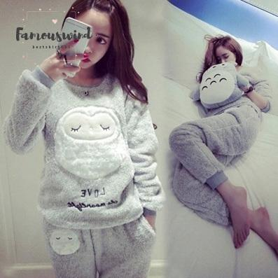 Thick Flannel Warm Female Winter Pajama Piece Set Long Sleeve Full Trousers Two Pajamas Animal Cartoon Owl