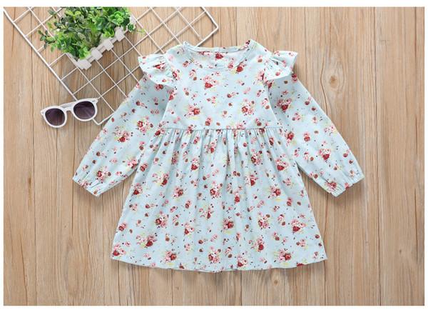 Girls Long Sleeves Floral Dresses Spring 2019 Kids Boutique Clothing Children Apparel Korean 1-4T Little Girls Floral Dresses