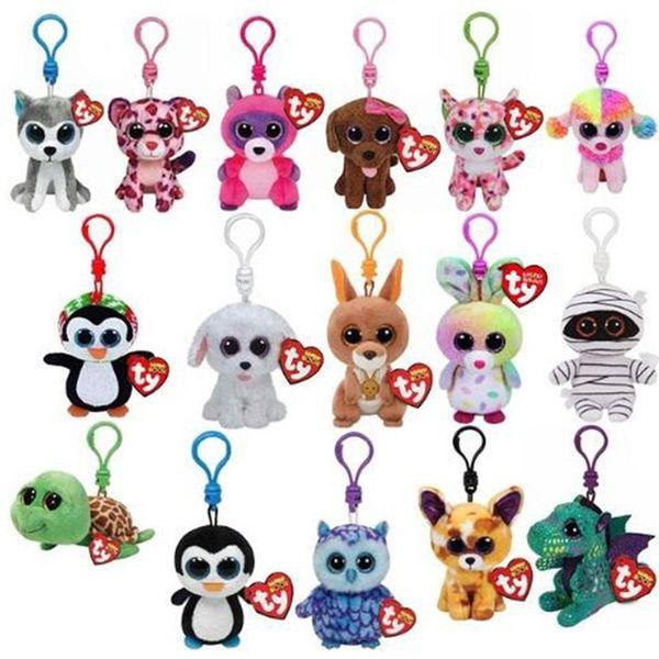 10CM TY Beanie Boos Keychain Plush 4'' Stuffed Animals dolls Big Eyes Owl Unicorn Elephant Penguin Leopard Fox Monkey Rabbit Giraffe Panda