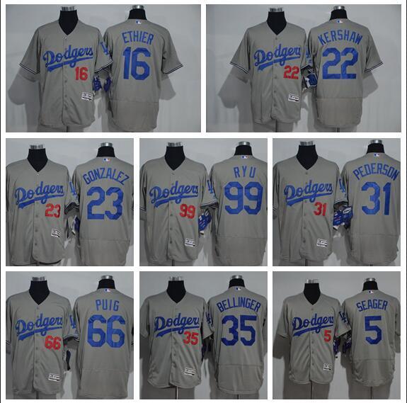 2019 Jersey Los Angeles Dodgers 35 Cody Bellinger 22 Clayton Kershaw 5 Corey Seage42Jackie35 Bellinger 31 Pederson gris Maillots