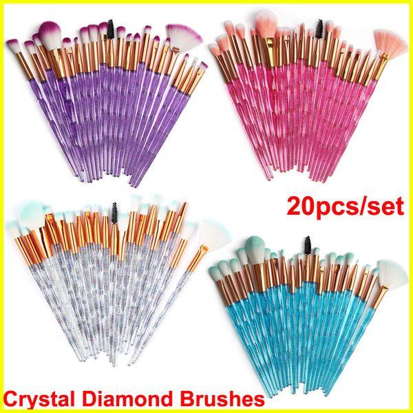 Kristal Elmas Makyaj Fırçalar 20pcs Seti Pudra Fırçası Setleri Yüz ve Göz Fırçası Puff Kozmetik Fırçalar Vakfı DHL tarafından Güzellik araçları fırçalar