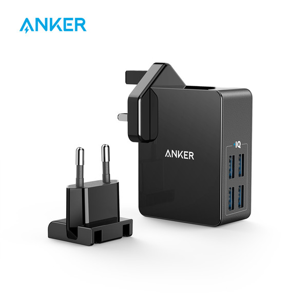Anker 27w 4-port Usb Wall Charger Powerport 4 Lite With Interchangeable Uk And Eu Plugs For Iphone Galaxy Ipad Htc Huawei Lg Etc J190427