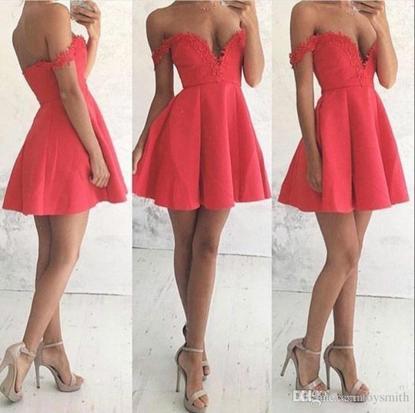 Free Shipping New Arrival Sexy Satin V-Neck Lace Applique Guest Dress Party Dress 2018 Elegant Short Off Shoulder Prom Dress