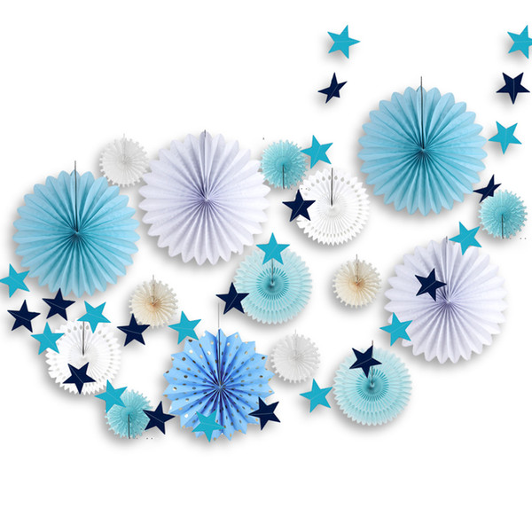 17pcs Blue & White Birthday Party Decoration Set Paper Rosettes Fans Star Garland For First Birthday Baby Shower Party Backdrop