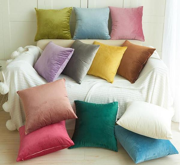 Velvet Pillow Case Solid Plush Pattern Pillow Cover Sofa Cushion Xmas Christmas Square Pillowcases Home Textiles GGA2388