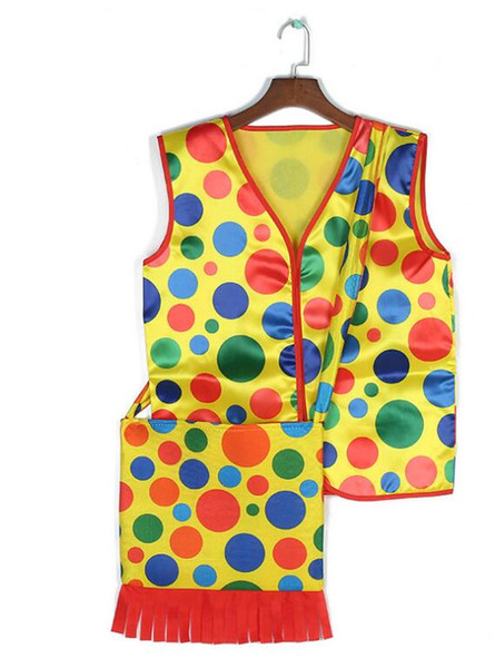 Halloween Makeup Fancy Dress Costumes Colorful Dot Clown Vest Backpack mardi gras carnival Cosplay Performance Wear Tops Clothes bags