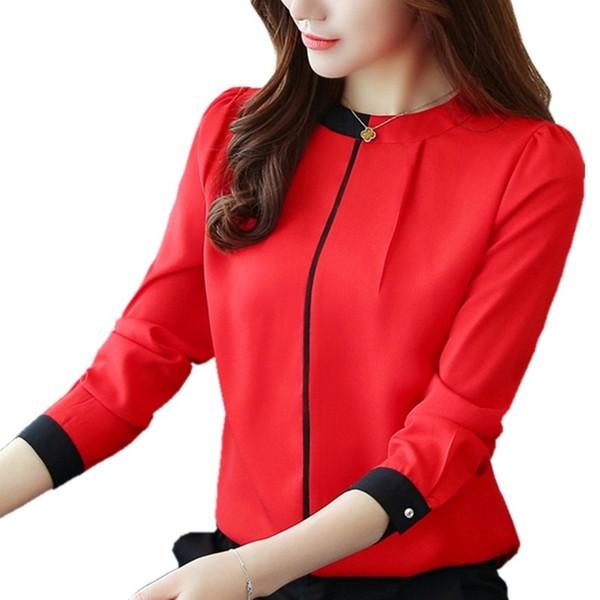 2018 Womens Red camicette Moda Autunno Inverno chiffon T-shirt manica lunga OL femminile Blusas signore dell'ufficio cime bianche camicetta D18103104