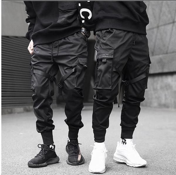 Erkekler Kurdeleler Renk Bloğu Siyah Cep Kargo Pantolon 2020 Harem Koşucular Harajuku Sweatpant Hip Hop Pantolon