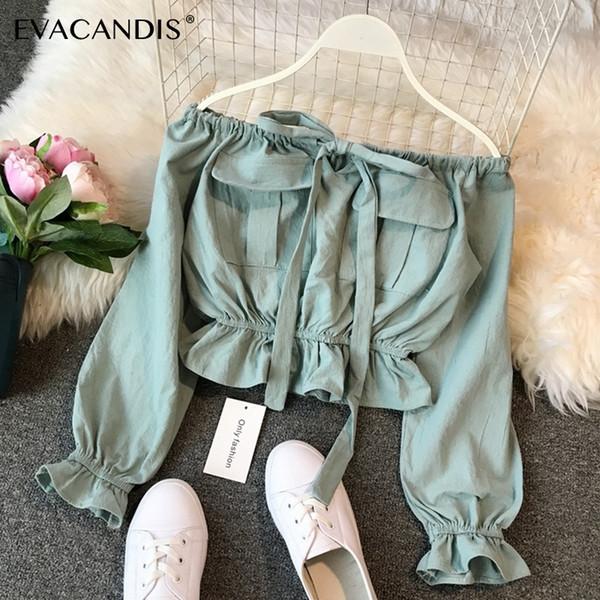 Ruffle Crop Top Off Shoulder Long Sleeve Sexy Korean Spring Boho Bow Tunic Yellow White Green Pink Short Blouse Women Shirt Q190507