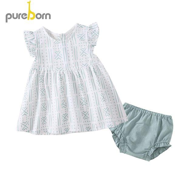 Großhandel Pureborn Baby Mädchen Kleid Shorts 2 Stücke Totem Print Kleid Kleinkind Kinder Sommerkleid Baby Taufe Geburtstag Outfits Sommerkleidung