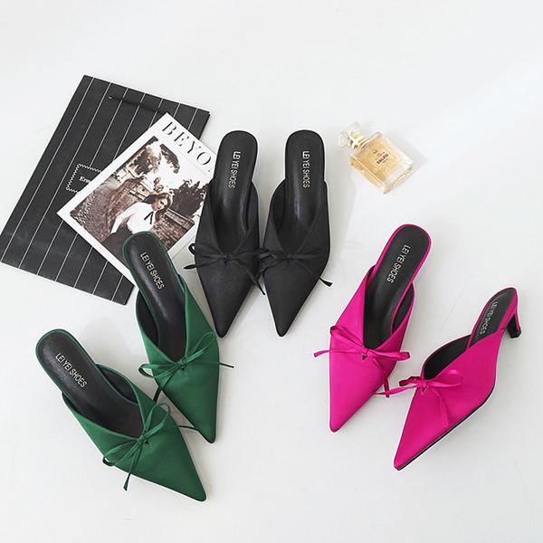 Gorgeous2019 Shoe Muller Donna Sandali con fiocco estivo Really Silk Satin Face Sharp Scarpe da donna Baotou Half Slipper Genuine Leather