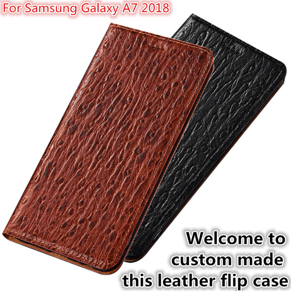 QX07 Natural Leather Magnetic Flip Case Card Slot For Samsung Galaxy A7 2018 Phone Case For Samsung Galaxy A7 2018 Flip Cover Kickstand
