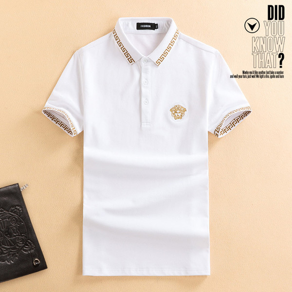 European clothing spot supply high-end fashion men's summer short-sleeved lapel beads silk cotton T-shirt