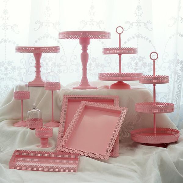 Rose Gâteau Stands Set Mariage Anniversaire Princesse Rose Parti Décoration Cake Assiettes À Cupcake Dessert Cuisson Vaisselle Vaisselle Outils