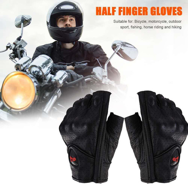 Unisex Motorcycle Gloves M/L/XL/XXL Leather Summer Breathable Half Finger Mitt Glove For Scooter Moto Electric Bike Racing Cycle