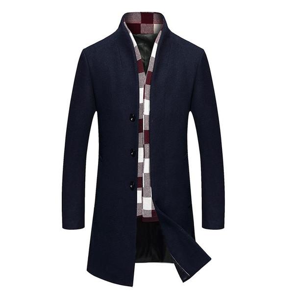 New Fashion trench coat men winter men's woolen blended coat collar design long outwear overcoat manteau homme