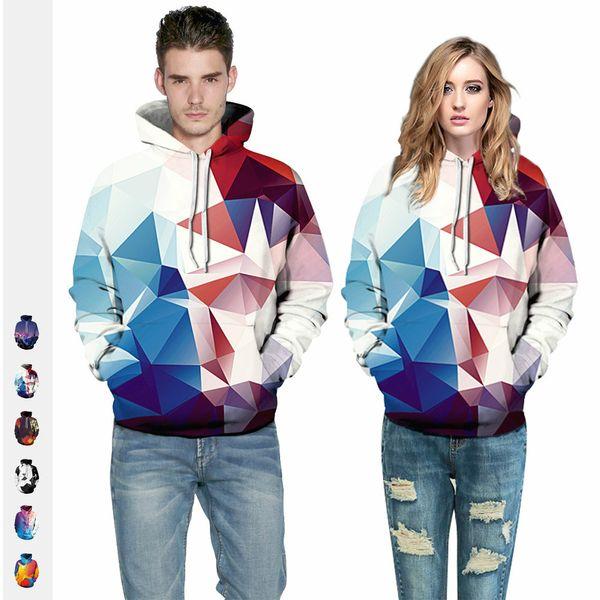 Hot style women's geometric diamond-print street fashion women's hoodies sport autumn baseball couples
