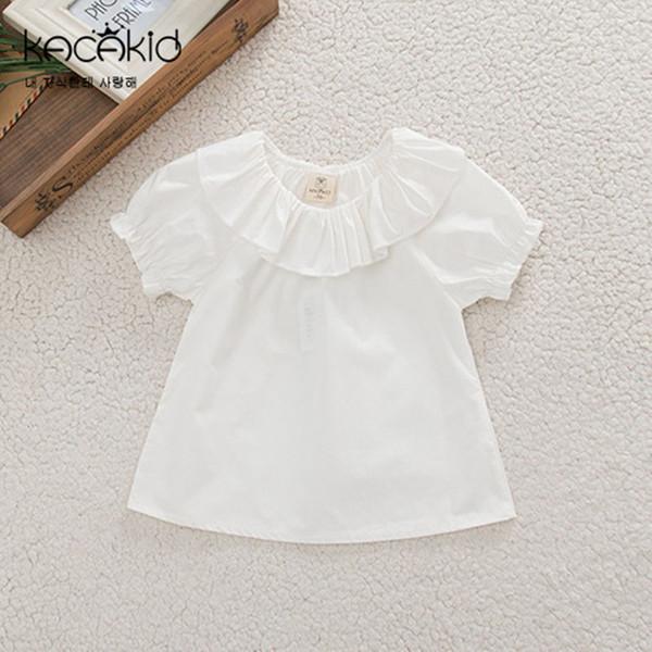 Camiseta para bebés Camiseta de color blanco Cuello con volantes Mangas cortas Camisetas Camiseta para bebés Camisas para niños Algodón 0-2 años Niñas Verano