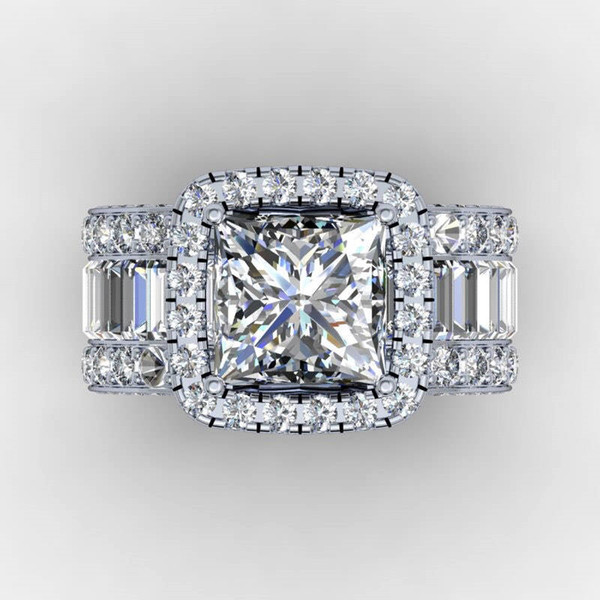best selling Vintage Lovers Court ring 3ct Diamond 925 Sterling silver Engagement wedding band ring for women men Finger Jewelry Gift