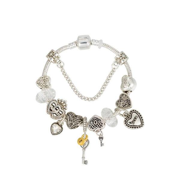 2019 neue europäische diy armband frauen pfirsich herzförmigen alten silberlegierung großes loch perle perlenarmband diy liebe anhänger armband liebe br