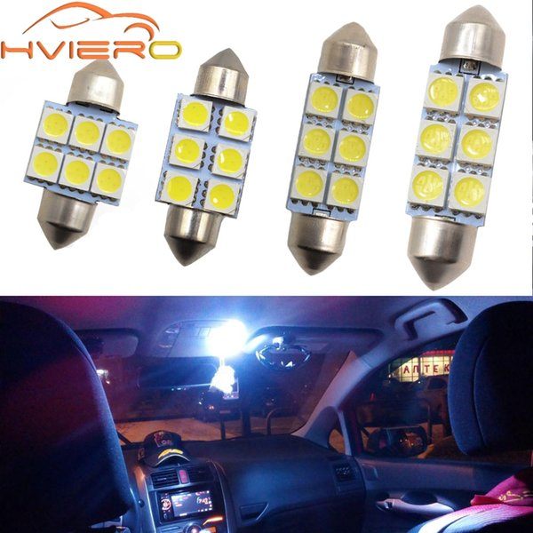 White Car Led 31mm 36mm 39mm 41mm C5w 5050 6smd dc 12v Interior Festoon Dome Car Light Reading Lamp License plate Luggage Bulb