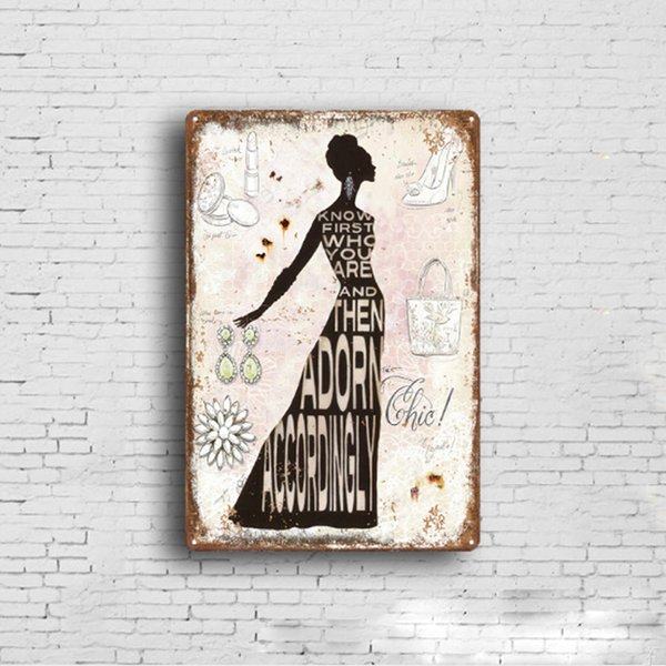 5 styles Lady Retro Plate Metal Motor Vintage Craft Tin Sign Retro Metal Painting Poster Bar Pub Wall Art Decor Art Pictures 20*30cm