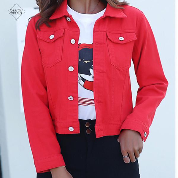 Chaqueta Jeans Cappotti Jacket per le donne 2019 autunno di colore della caramella casuale giacca corta denim Mujer Casaco Jaqueta Feminina