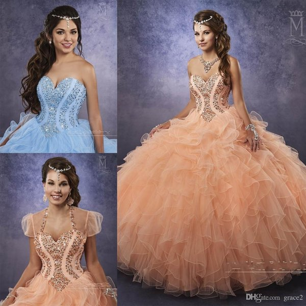 Light Blue Ball Gown Quinceanera Dresses with Free Size Bolero Beaded Basque Waistline Ruffles Peach Tulle Masquerade QuinceaneraBall Gowns