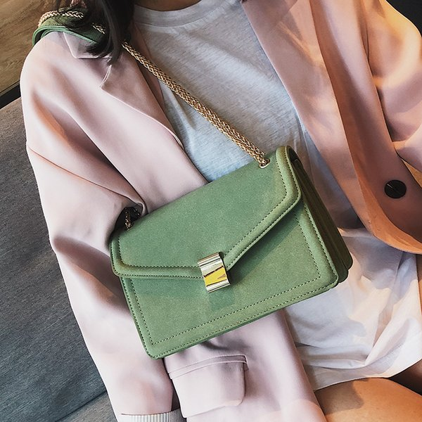 Scrub Leather Crossbody Flap Bags For Women 2019 Vintage Style Solid Color Handbags and Purses Ladies Chain Hand Bag New Arrival