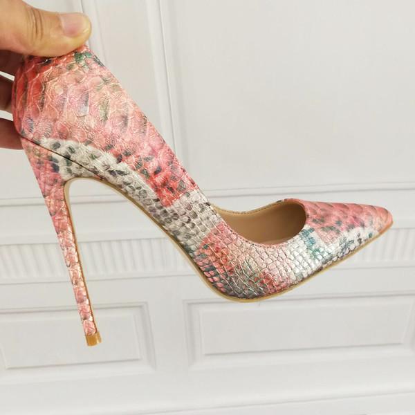 nueva estilos 1028f 6d946 Compre Zapatos De Tacón Alto Con Estampado De Serpiente De Serpiente Con  Estampado De Serpiente Con Diseño De Serpiente Con Diseño De Serpiente En  ...