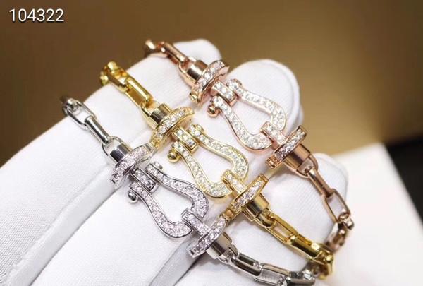 Famoso marchio Forza 10 in acciaio al titanio 316L rosa bianco oro giallo cristallo a ferro di cavallo infinito fibbia braccialetto a catena per le donne
