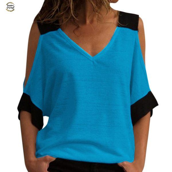 Üst Kadın Tişörtlü Dikiş Kapalı Omuz V Yaka Vogue blusa Mujer Camicia Donna chemisier Femme Ofisi Yaka Cotton Standı
