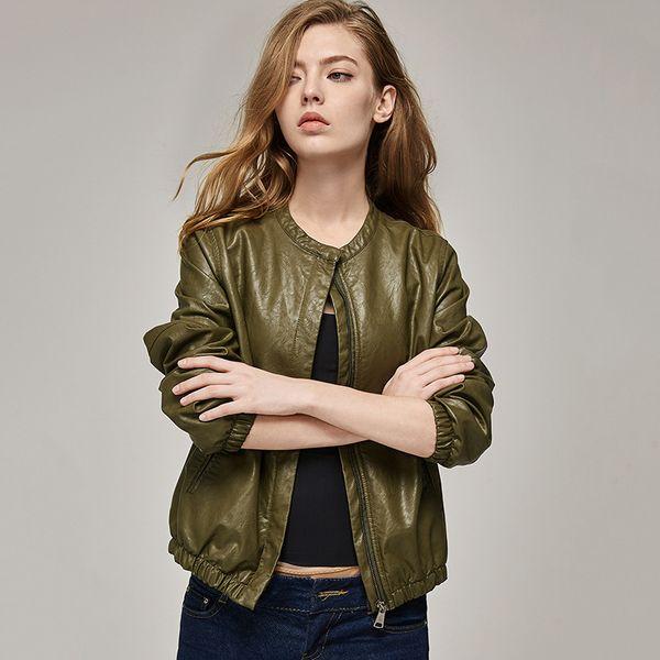 Traje vestido chaqueta mujeres grandes 2019 otoño nuevo producto moda negro para mujer de cuero marrón ejército verde 3 color U béisbol Ma'am corto venta caliente