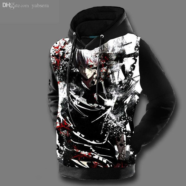 Wholesale-Tokyo Ghoul Hoodies Mens Hooded Pullovers Ken Kaneki Printed Male Hoody 3D Printing Free Shipping