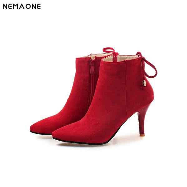 NEMAONE dames talons hauts bottines sweet chaussures de fête de mariage femme noir rouge vert femmes bottes grande taille 42 43
