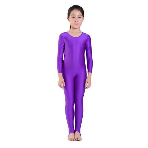 SPEERISE Childrens Girls Dance Gymnastics Long Sleeve Unitard Catsuit Stirrup Nylon Lycra Dance Girls Show Stage Wear leotard