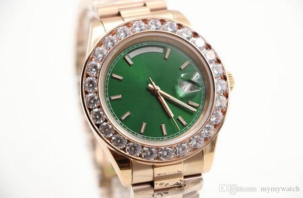 Luxusuhr Herren Day-Date Automatikwerk Guter Saphir Diamanten Uhr Grünes Gesicht Roségold Edelstahl Herrenuhren