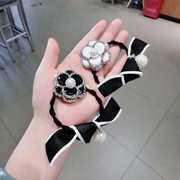 4pcs/lot New hair rope rose hair accessories diamond camellia flower headdress Europe and America women popular pearl hair ring